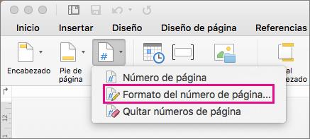 Para aplicar formato a los números de página, haga clic en Número de página en la pestaña Encabezado y pie de página y luego haga clic en Formato del número de página.