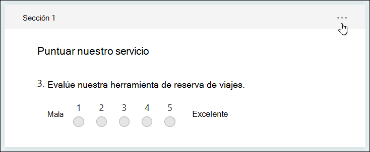 Más opciones de configuración para el botón de sección en Microsoft Forms