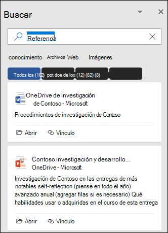 Panel de búsqueda en el que se muestran los archivos que se encontraron con una búsqueda