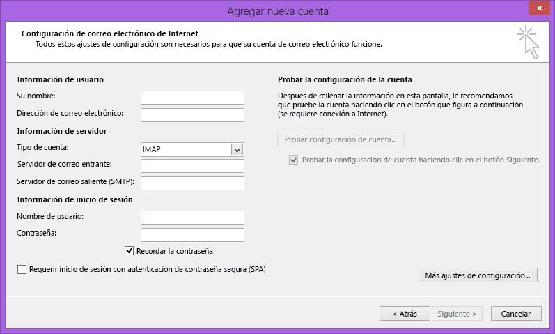 Configuración del correo electrónico Internet de Outlook 2010
