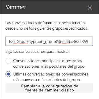 Panel de propiedades de Yammer