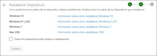 Captura de pantalla de la pantalla dispositivos de REST en el sitio web de OneDrive