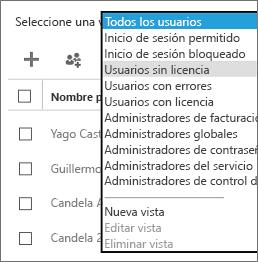 Desde la lista Seleccionar una vista, seleccione la vista de usuarios sin licencia.