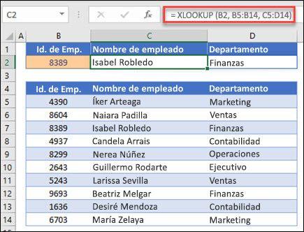 Imagen de la función XLOOKUP usada para devolver un código de acceso telefónico de una tabla.