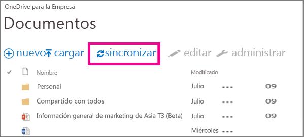 Sincronización de OneDrive para la Empresa con su equipo