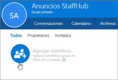 Agregue miembros al grupo de StaffHub en Outlook.