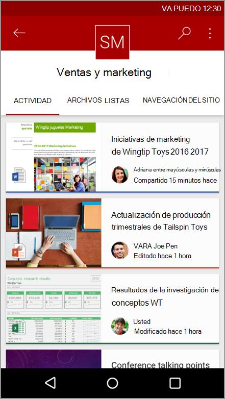 Captura de pantalla de una aplicación móvil Android de navegación, archivo, listas y la actividad del sitio