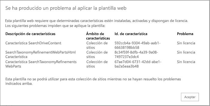 Captura de pantalla de un mensaje de error que le podría aparecer si las características no disponibles están evitando la creación de un sitio en SharePoint Online.