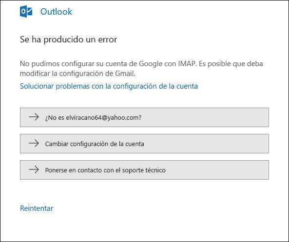 Se ha producido un error al agregar una cuenta de correo electrónico en Outlook.