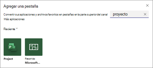 Captura de pantalla que muestra agregar un cuadro de diálogo de pestaña y resultados de búsqueda para el término proyecto