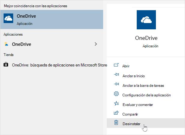 Desinstalación de OneDrive store