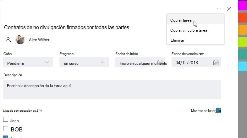 Captura de pantalla: muestra una tarea abierta y el menú más en la esquina superior derecha.