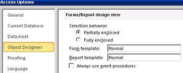 Se muestran las opciones de configuración del diseñador de formularios e informes