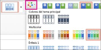 Cambia la combinación de colores de la escala de tiempo