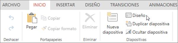 Captura de pantalla que muestra la pestaña Inicio con el cursor apuntando a la opción Diseño en el grupo Diapositivas.