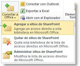 Botón Conectar a Office