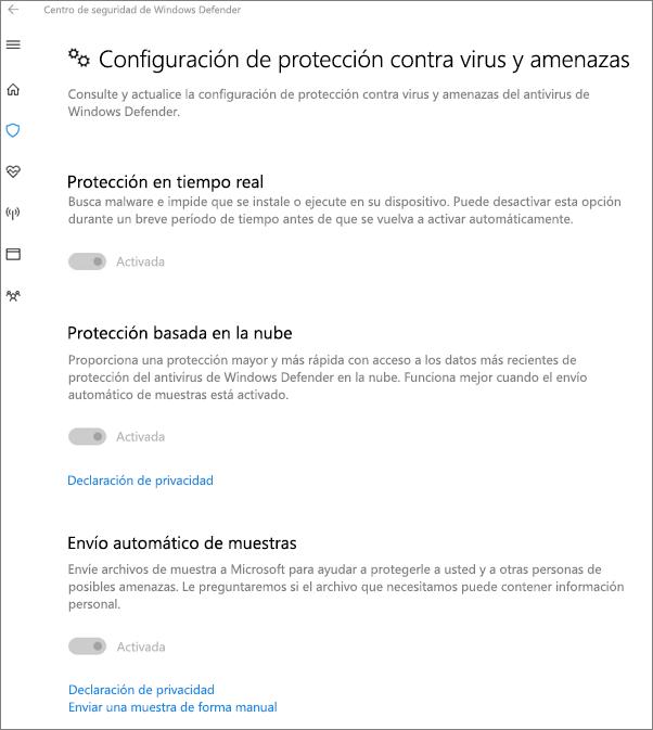 La configuración de protección contra Virus y amenazas está atenuada.