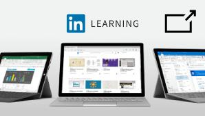 Muestra una tarjeta de LinkedIn Learning con un símbolo. El símbolo le muestra que saldrá de support.office.com y, a continuación, verá contenido de LinkedIn Learning en su sitio web.