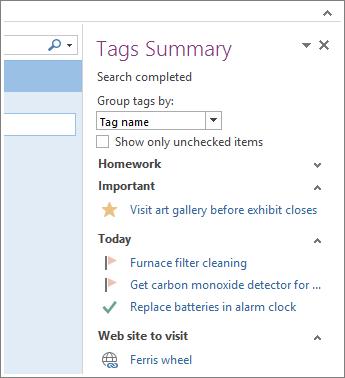 Puede ver todas las tareas de un vistazo en Resumen de etiquetas.