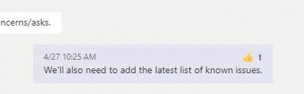 Adición de un pulgar reacción a un mensaje en Microsoft Teams