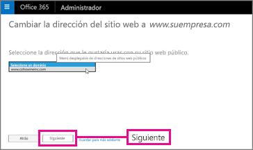 Seleccione la dirección del sitio web y, a continuación, seleccione Siguiente