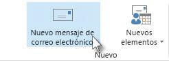 Comando Nuevo mensaje de correo en la cinta