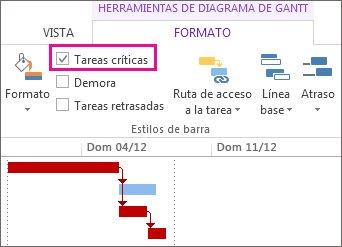 Casilla de verificación Tareas críticas en la cinta de opciones y barras de Gantt resaltadas en Project 2013