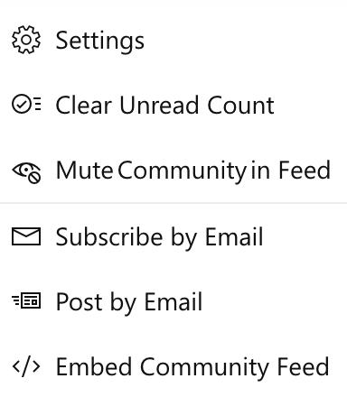 Captura de pantalla que muestra la comunidad de silenciar al usuario final en nuevo Yammer