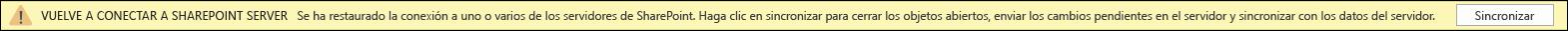 Haga clic en sincronizar para volver a conectarse al servidor de SharePoint.