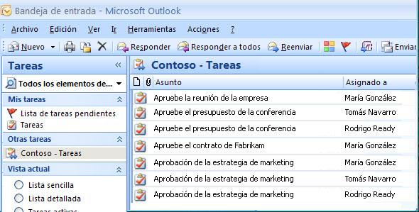 Vista Tareas de Outlook, Otras tareas: Contoso: Tareas, tareas de flujo de trabajo enumeradas