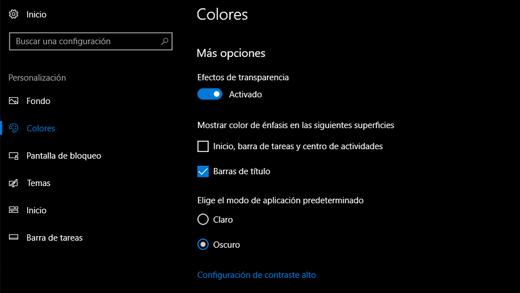 Configuración de personalización en modo oscuro