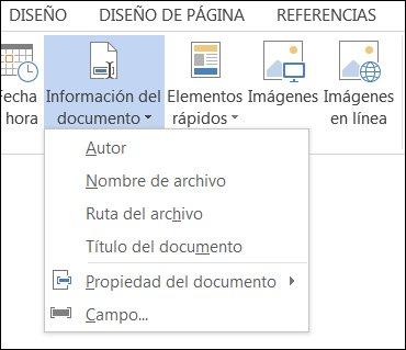Menú Información del documento para encabezados y pies de página