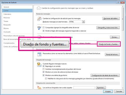 Comando Diseño de fondo y fuentes del cuadro de diálogo Opciones de Outlook