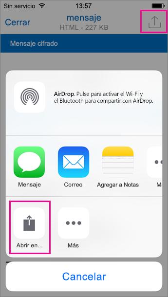 Visor de OME para Outlook para iOS 2
