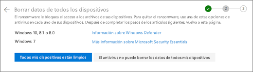 Captura de pantalla de la pantalla limpiar todos los dispositivos en el sitio web de OneDrive