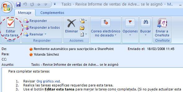 Mensaje de correo electrónico con el botón Editar esta tarea