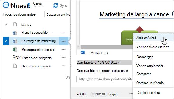 La opción de menú abrir > abrir en la aplicación seleccionada para un archivo de Word en la vista clásica del portal de OneDrive online