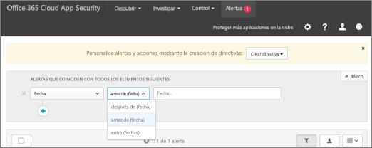 Usar el filtro de fecha para ver información antes, después o entre las fechas.