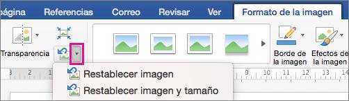 En la ficha Formato de imagen, se resalta Restablecer imagen