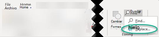 Los comandos buscar y reemplazar están en el extremo derecho de la pestaña Inicio, en el grupo edición.