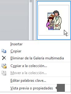 Use el comando Vista previa o Propiedades para ver una versión ampliada de la imagen y obtener más información sobre la imagen.