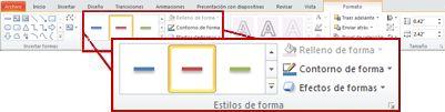 Pestaña Formato de Herramientas de dibujo de PowerPoint 2010.