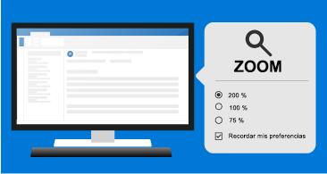 Mensaje a la izquierda y herramientas de zoom a la derecha