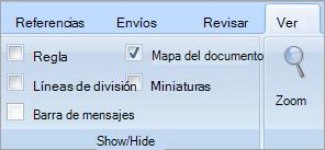 La casilla de verificación mapa del documento