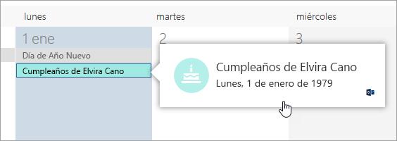 Una captura de pantalla del cuadro de evento de cumpleaños