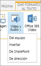 Insertar botón de audio o vídeo en la cinta de opciones de edición