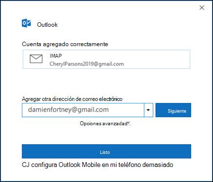 Seleccione listo para finalizar la configuración de su cuenta de gmail.