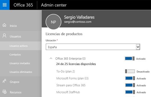Una captura de pantalla muestra la página de licencias de producto del Centro de administración de Office 365 con el control de alternancia conmutado a Desactivado para tareas pendientes (Plan 2).
