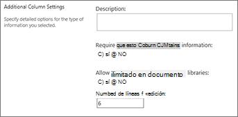 Texto de columna multilínea para bibliotecas de documentos