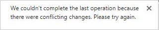 Mensaje de error sobre los cambios conflictivos de dos o más usuarios en un archivo de Visio.